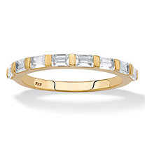 Baguette-Cut White Cubic Zirconia Stackable Ring .80 TCW in 18k Gold over Sterling Silver