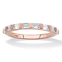 Baguette-Cut White Cubic Zirconia Stackable Ring in Rose Gold over Sterling Silver (.80 TCW)