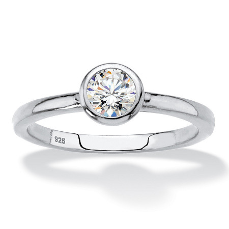 Round Bezel-Set Cubic Zirconia Stackable Ring in Sterling Silver (.50 TCW) at PalmBeach Jewelry