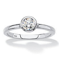 SETA JEWELRY Round Bezel-Set Cubic Zirconia Stackable Ring in Sterling Silver (.50 TCW)