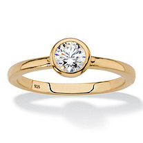 Round Bezel-Set Cubic Zirconia Stackable Ring in 18k Gold over Sterling Silver (.50 TCW)