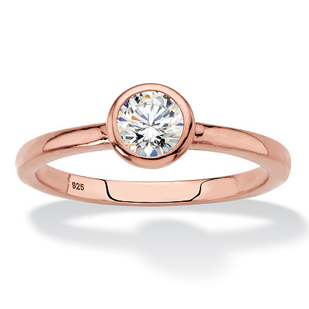 Round Bezel-Set Cubic Zirconia Stackable Ring in Rose Gold over Sterling Silver (.50 TCW) at PalmBeach Jewelry