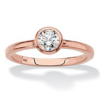 SETA JEWELRY Round Bezel-Set Cubic Zirconia Stackable Ring in Rose Gold over Sterling Silver (.50 TCW)