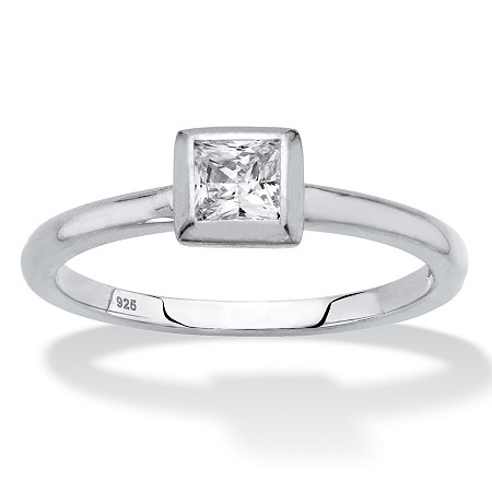 Princess-Cut Bezel-Set Cubic Zirconia Stackable Ring in Sterling Silver (.37 TCW) at PalmBeach Jewelry