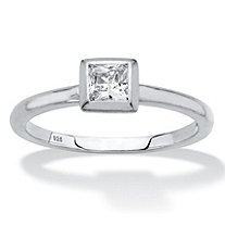 Princess-Cut Bezel-Set Cubic Zirconia Stackable Ring in Sterling Silver (.37 TCW)