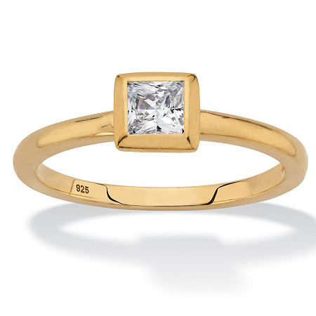 Princess-Cut Bezel-Set Cubic Zirconia Stackable Ring in 18k Gold over Sterling Silver (.37 TCW) at PalmBeach Jewelry