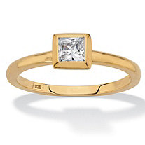 SETA JEWELRY Princess-Cut Bezel-Set Cubic Zirconia Stackable Ring in 18k Gold over Sterling Silver (.37 TCW)