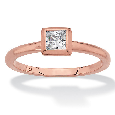 Princess-Cut Bezel-Set Cubic Zirconia Stackable Ring in Rose Gold over Sterling Silver (.37 TCW) at PalmBeach Jewelry