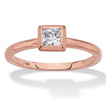 SETA JEWELRY Princess-Cut Bezel-Set Cubic Zirconia Stackable Ring in Rose Gold over Sterling Silver (.37 TCW)