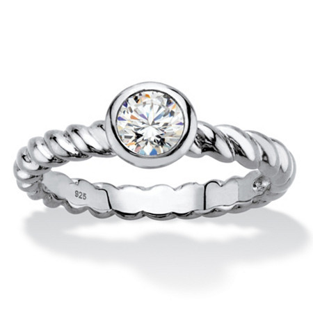 Round Bezel-Set Cubic Zirconia Twisted Band Stackable Ring in Sterling Silver (.50 TCW) at PalmBeach Jewelry