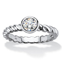 Round Bezel-Set Cubic Zirconia Twisted Band Stackable Ring in Sterling Silver (.50 TCW)