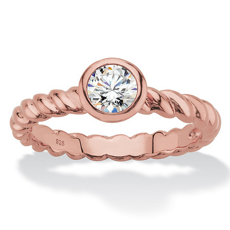 Round Bezel-Set Cubic Zirconia Twisted Band Stackable Ring in Rose Gold over Sterling Silver (.50 TCW) at PalmBeach Jewelry
