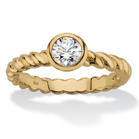 Round Bezel-Set Cubic Zirconia Twisted Band Stackable Ring in 18k Gold over Sterling Silver (.50 TCW) at PalmBeach Jewelry