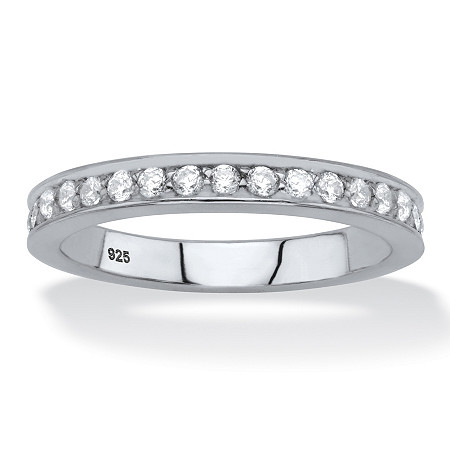Round White Cubic Zirconia Stackable Eternity Ring in Sterling Silver (.85 TCW) at PalmBeach Jewelry