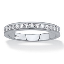 Round White Cubic Zirconia Stackable Eternity Ring in Sterling Silver (.85 TCW)