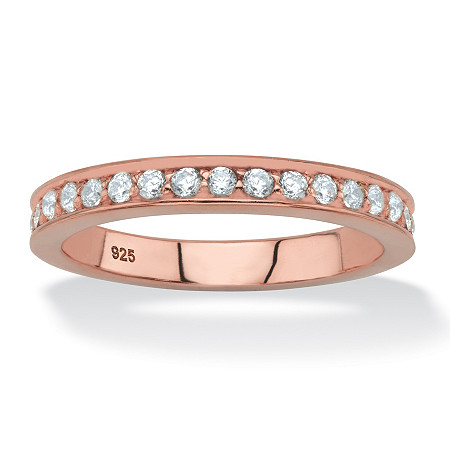 Round White Cubic Zirconia Stackable Ring in Rose Gold over Sterling Silver (.85 TCW) at PalmBeach Jewelry