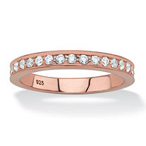 Round White Cubic Zirconia Stackable Ring in Rose Gold over Sterling Silver (.85 TCW)