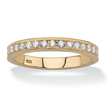 Round White Cubic Zirconia Stackable Eternity Ring in 18k Gold over Sterling Silver (.85 TCW) at PalmBeach Jewelry