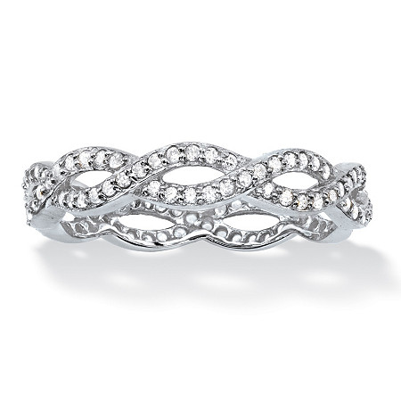Round White Cubic Zirconia Crossover Eternity Ring in Sterling Silver (.33 cttw) at PalmBeach Jewelry
