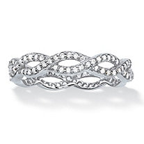 Round White Cubic Zirconia Crossover Eternity Ring in Sterling Silver (.33 cttw)