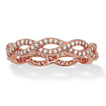 Round Cubic Zirconia Crossover Twist Ring in Rose Gold over Sterling Silver (.33 TCW) at PalmBeach Jewelry