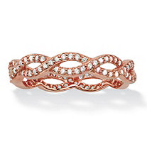 Round Cubic Zirconia Crossover Twist Ring in Rose Gold over Sterling Silver (.33 TCW)