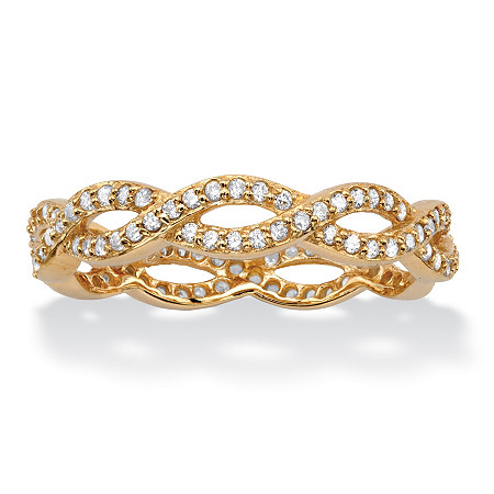 Round Cubic Zirconia Crossover Twist Ring in 18k Gold over Sterling Silver (.33 TCW) at PalmBeach Jewelry