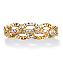 Round Cubic Zirconia Crossover Twist Ring in 18k Gold over Sterling Silver (.33 TCW)
