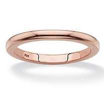 Polished Wedding Ring Band in Rose Gold-Plated Sterling Silver (2mm)