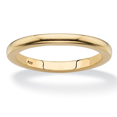 Polished Wedding Ring Band in 18k Yellow Gold over Sterling Silver 2mm at PalmBeach Jewelry