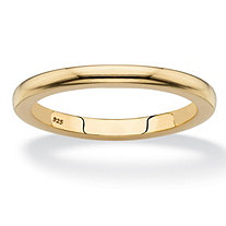 Polished Wedding Ring Band in 18k Yellow Gold over Sterling Silver 2mm