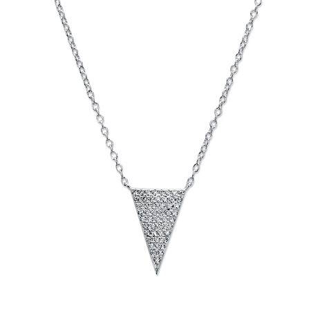 White Pave-Set Cubic Zirconia Triangle Pendant Necklace in Sterling Silver 18