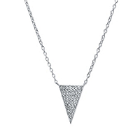 White Pave-Set Cubic Zirconia Triangle Pendant Necklace In Sterling Silver ONLY $12.99