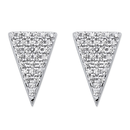 White Pave-Set Cubic Zirconia Triangle Stud Earrings in Sterling Silver (.29 TCW) at PalmBeach Jewelry