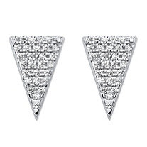 White Pave-Set Cubic Zirconia Triangle Stud Earrings in Sterling Silver (.29 TCW)