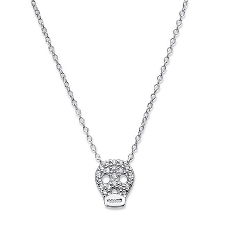 Pave Cubic Zirconia Skull Pendant Necklace in Sterling Silver 18