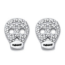 Round Pave-Set Cubic Zirconia Skull Stud Earrings in Sterling Silver (.18 cttw)