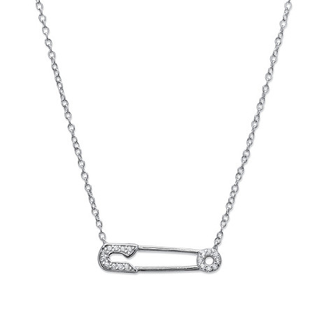 Cubic Zirconia Safety Pin Pendant Necklace in Sterling Silver 18