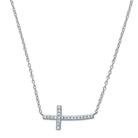 Round Cubic Zirconia Sideways Cross Necklace in Sterling Silver 18