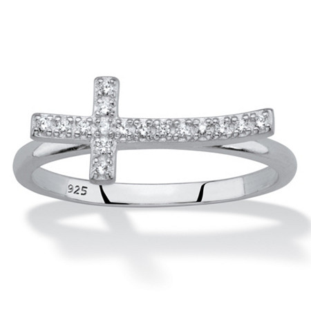 Cubic Zirconia Sideways Cross Ring in Sterling Silver at PalmBeach Jewelry