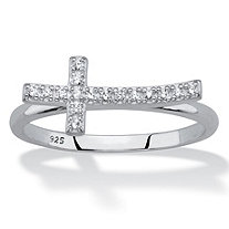 Cubic Zirconia Sideways Cross Ring in Sterling Silver