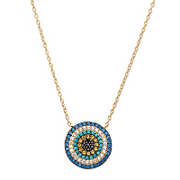 Multi-Color Cubic Zirconia And Simulated Gemstone Pendant Necklace ONLY $28.95