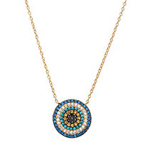 "Multi-Color Cubic Zirconia and Crystal Circle Necklace in 14k Gold over Sterling Silver 18"" (.30 TCW)"