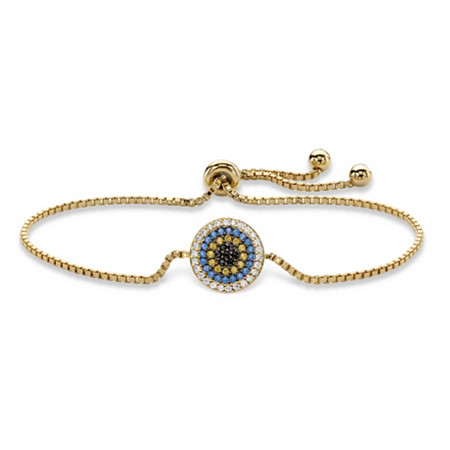 Multi-Color Cubic Zirconia and Simulated Gemstone Adjustable Bolo Bracelet .73 TCW in 14k Gold over Silver 10