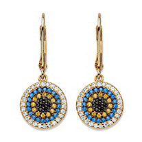 Multi-Color Cubic Zirconia and Crystal Drop Earrings in 14k Gold over Sterling Silver (.46 TCW)