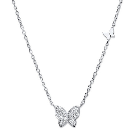 "Round Cubic Zirconia Butterfly Necklace in Sterling Silver 18""-20"" (.16 TCW) at PalmBeach Jewelry"