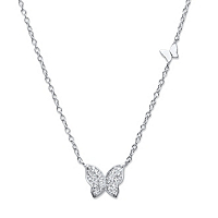Round Cubic Zirconia Butterfly Necklace In Sterling Silver ONLY $16.95