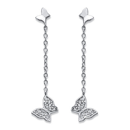 Round Cubic Zirconia Butterfly Drop Earrings in Sterling Silver 1 1/3