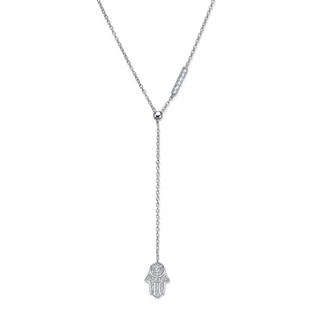 Round Cubic Zirconia Protective Hamsa Y Necklace in Sterling Silver 18