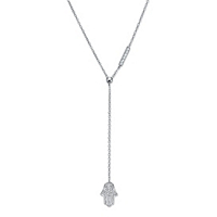 Round CZ Protective Hamsa Y Necklace In Sterling Silver ONLY $12.99